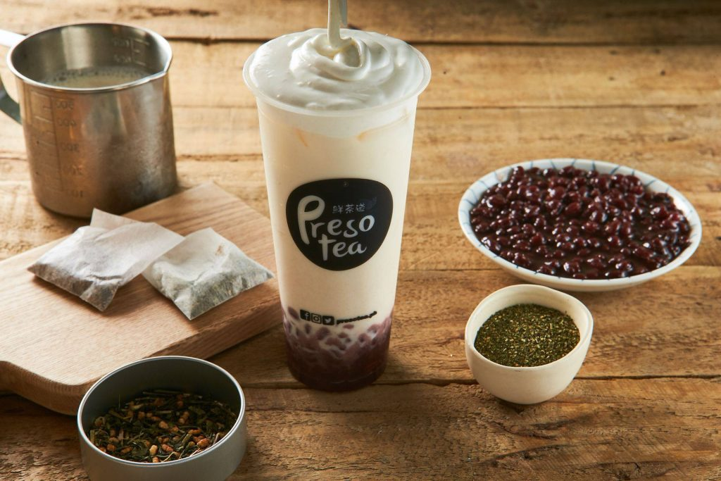 presotea japanese genmaicha milk tea with red bean