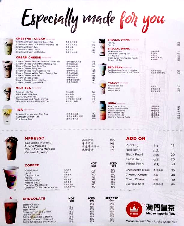 Macao Imperial Tea Menu