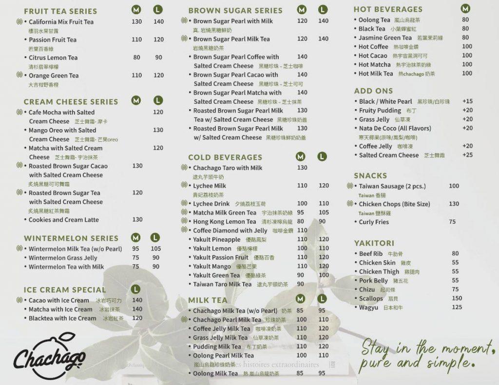 chachago menu