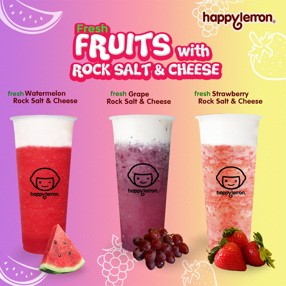 happy lemon fresh fruits with rock salt and cheese