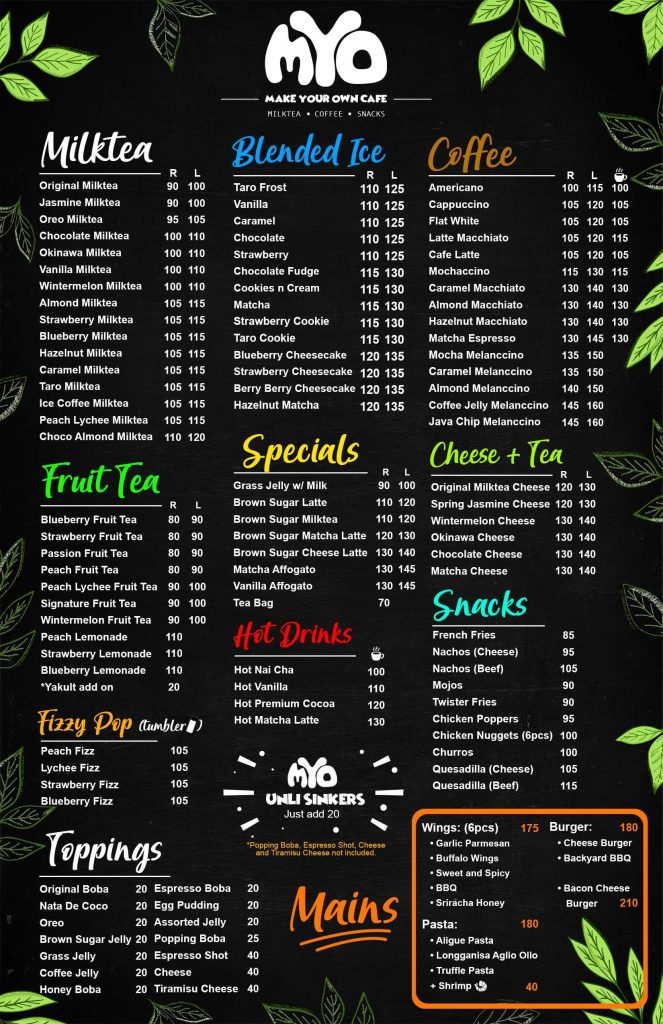 Make your own cafe Philippines Menu