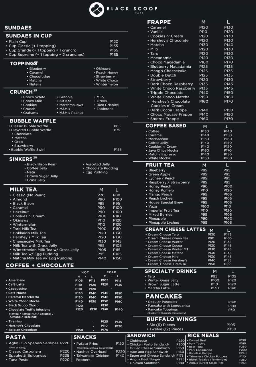 Black Scoop Cafe Menu Philippines