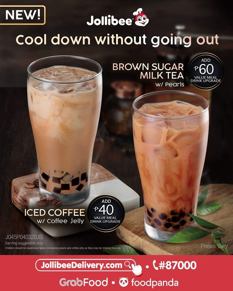 Jollibee New Brown Sugar Milk Tea and Iced Coffee