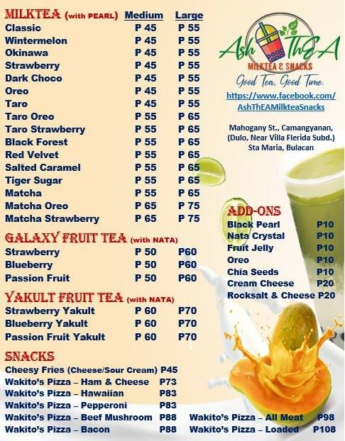 ash thea milktea and snacks menu