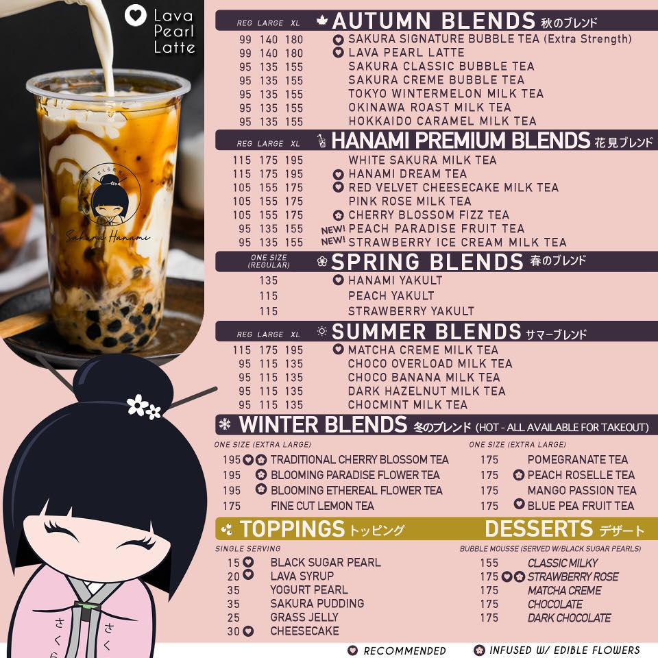 sakura hanami menu