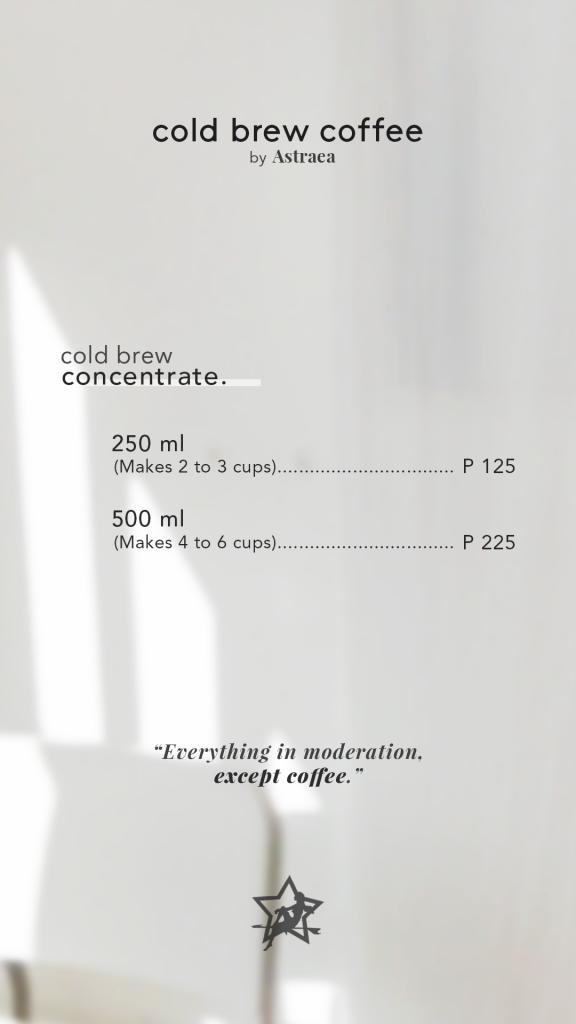 Astraea Cold Brew Menu
