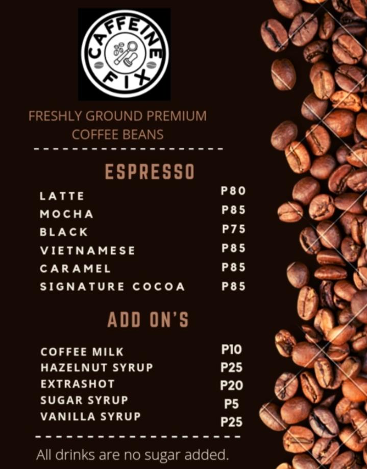 Caffeine Fix Menu