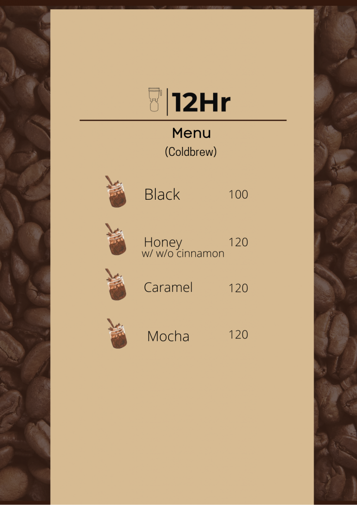 12hr Cold Brew Menu