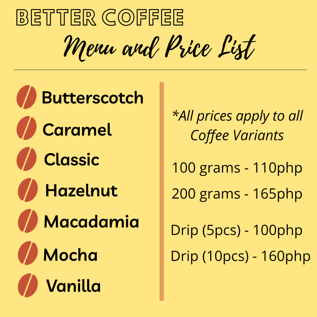 Better Coffee Menu