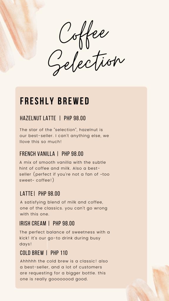Coffee Run Manila Menu