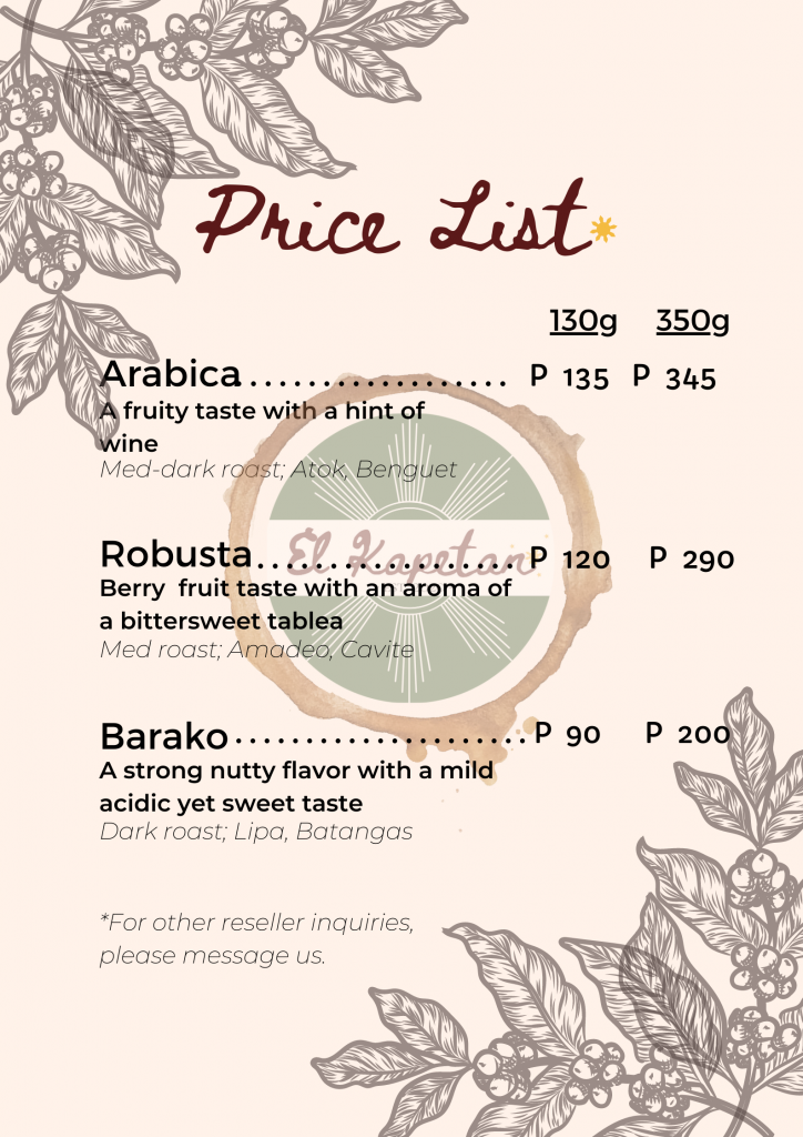 El Kapetan Coffee Trading Pricelist