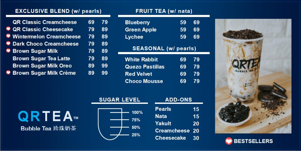 QRTEA Bubble Tea Pricelist