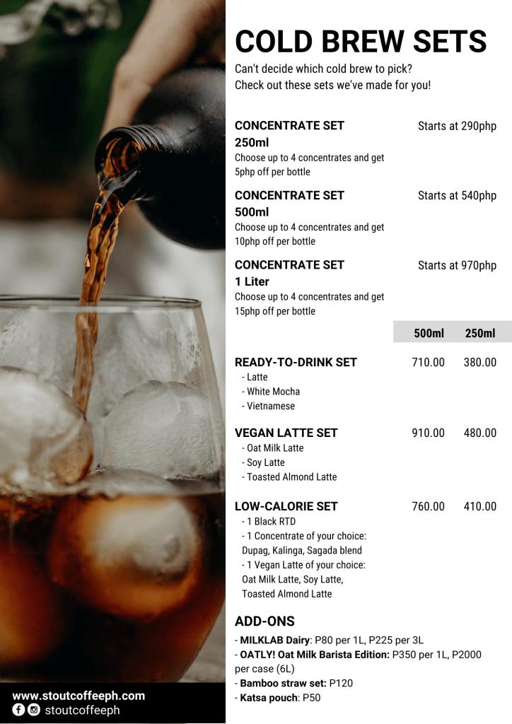 Stout Coffee PH Cold Brew Sets Menu