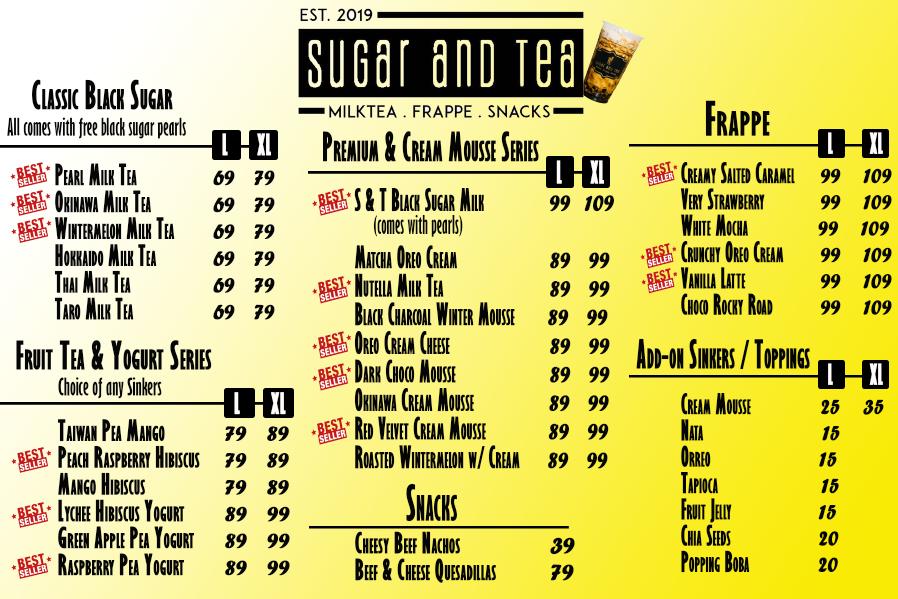 Sugar and Tea Menu