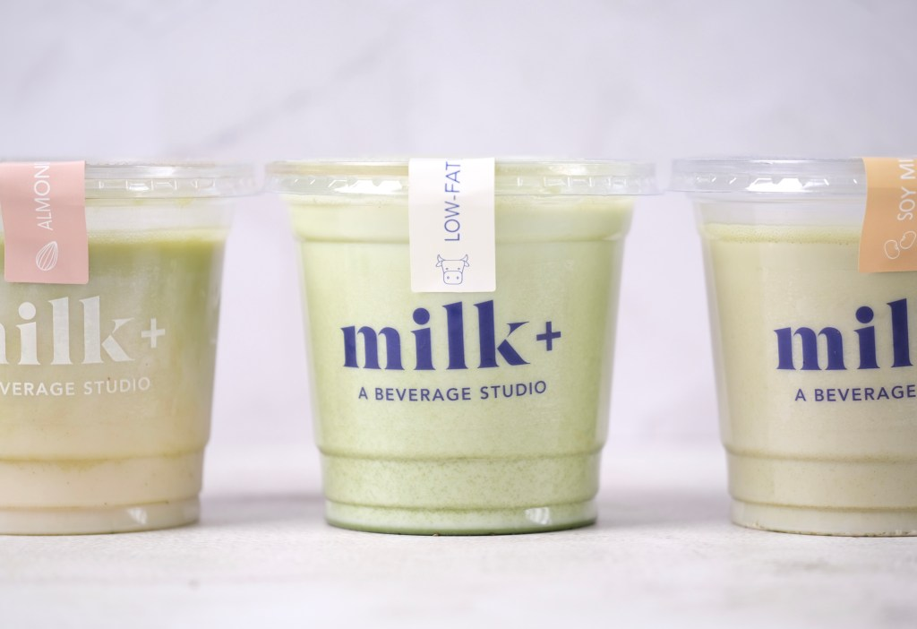three matchas Milk Plus Studio