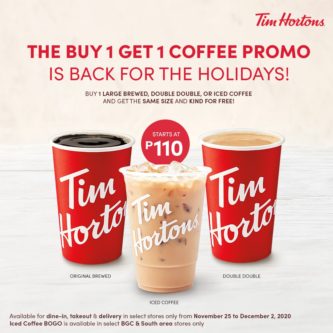 Buy 1 Get 1 Coffee Promo Tim Hortons