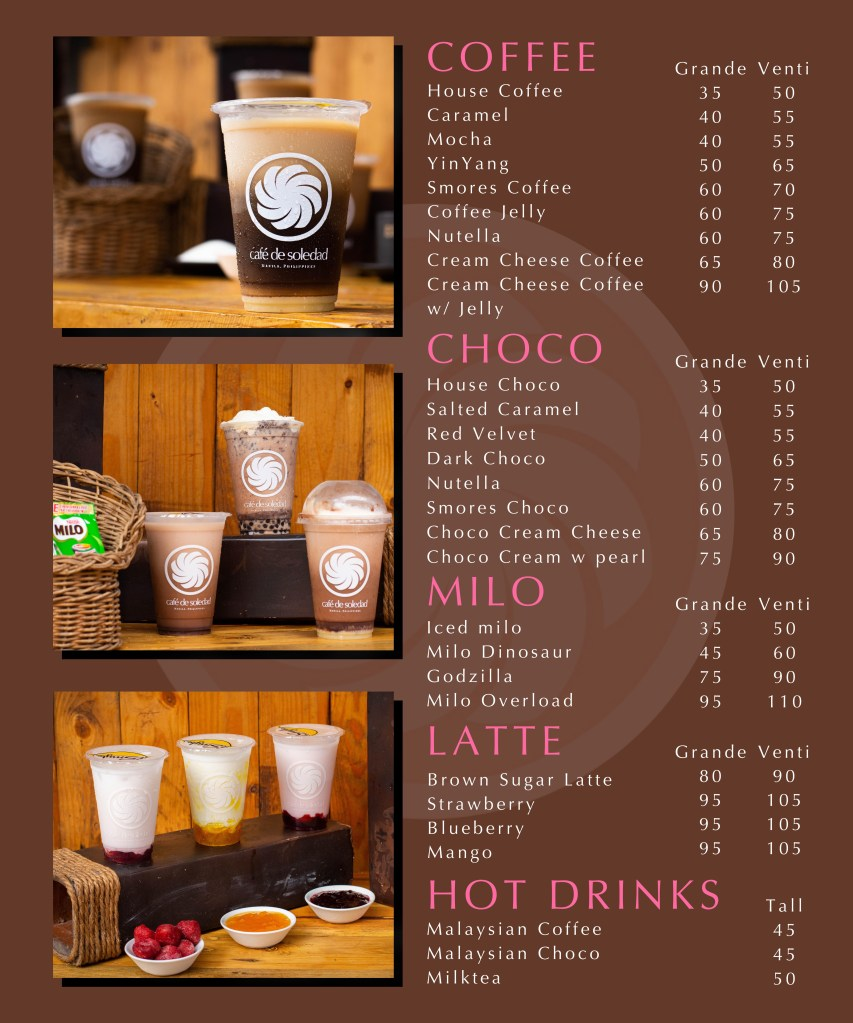 Cafe de Soledad Menu