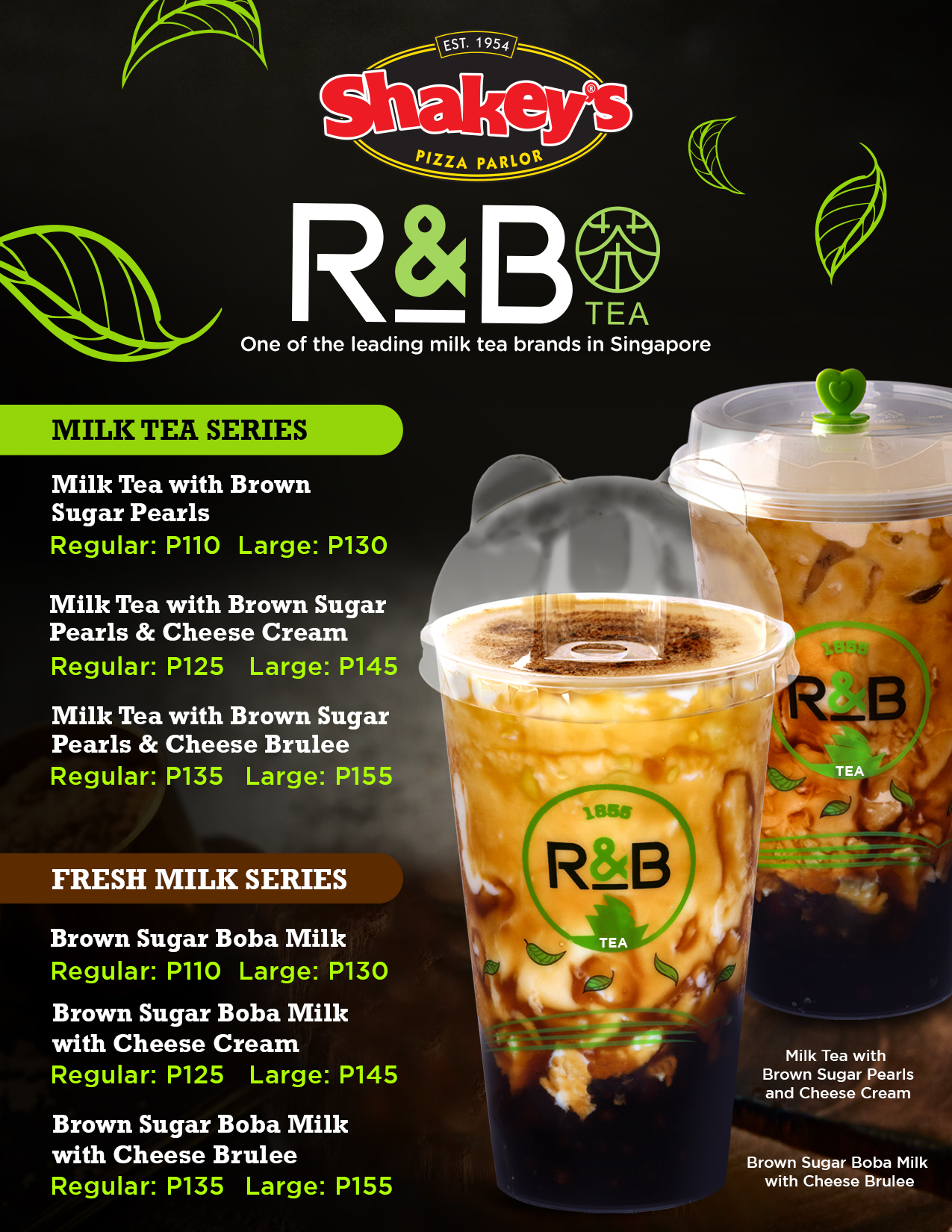 R&B Milk Tea Shakeys Menu
