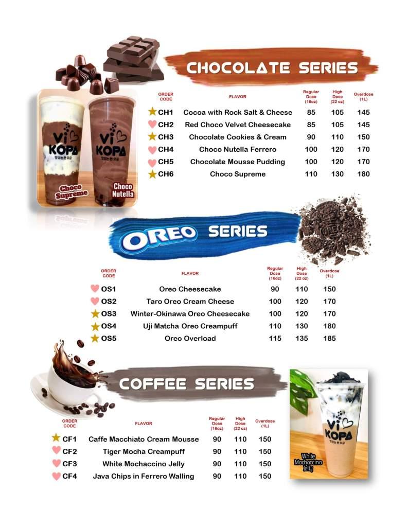 Vi Kopa Chocolate Series Menu