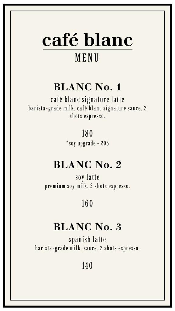 Café Blanc Pricelist
